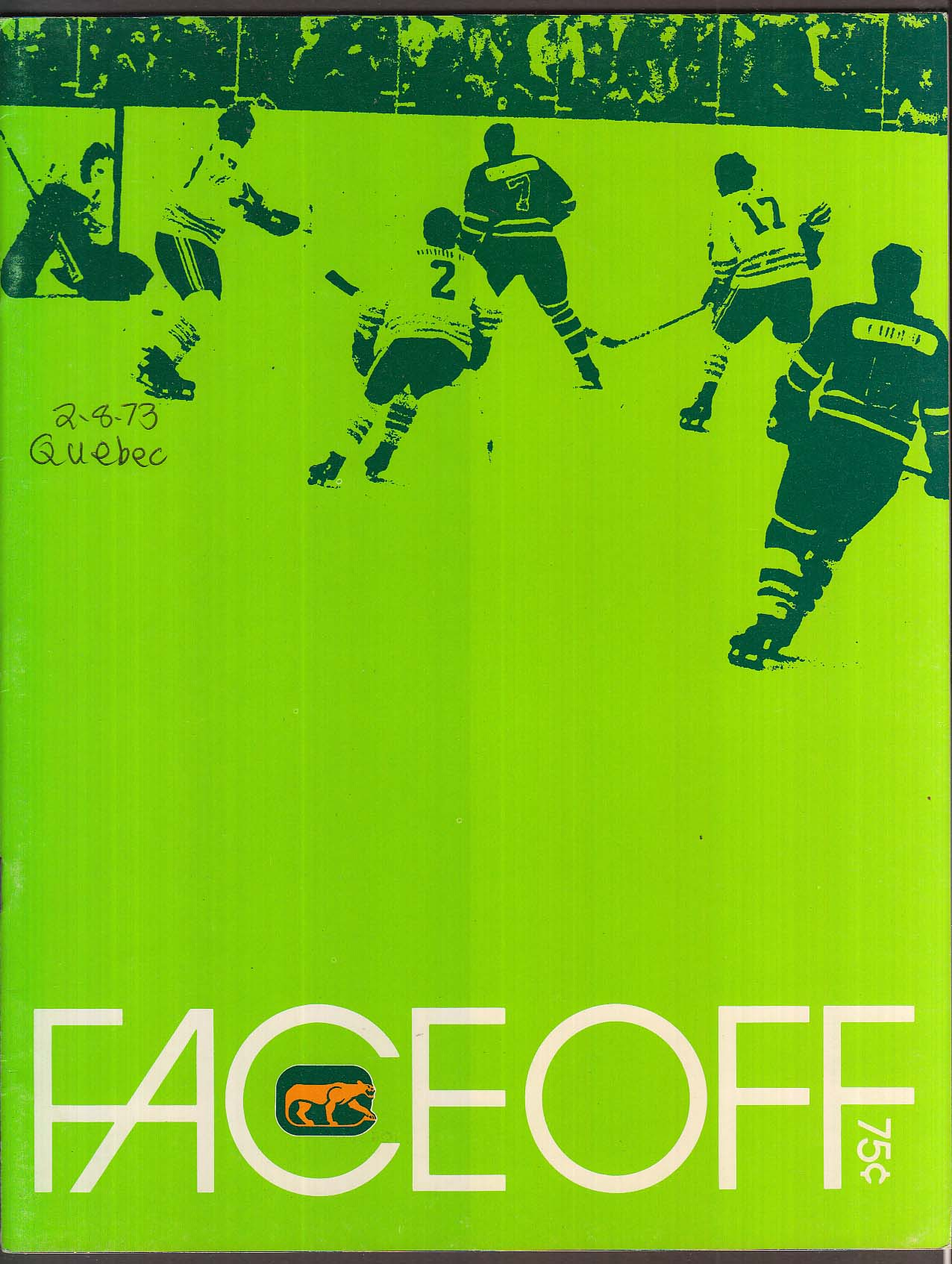 FACEOFF Chicago Cougars Hockey Club Directory 1972 UNSCORED vs Quebec Nordiques
