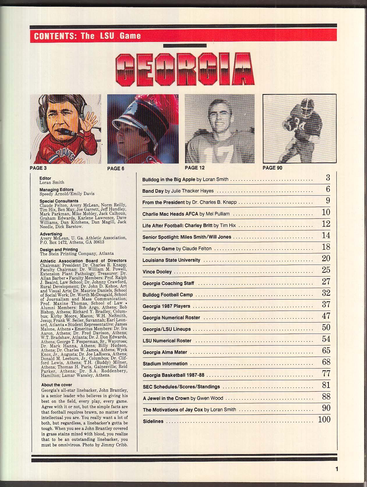 Georgia the LSU Game Official Souvenir Program 10/10 1987