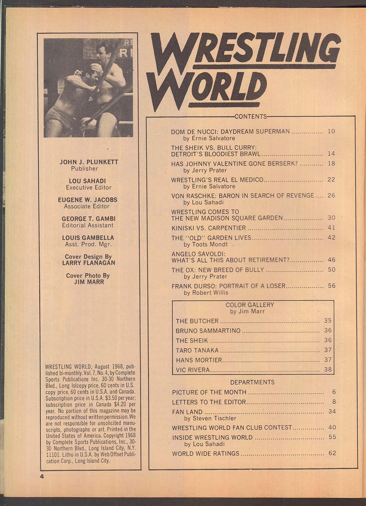 WRESTLING WORLD Sheik Bull Curry Dom DeNucci Von Raschke Johnny Valentine 8  1968