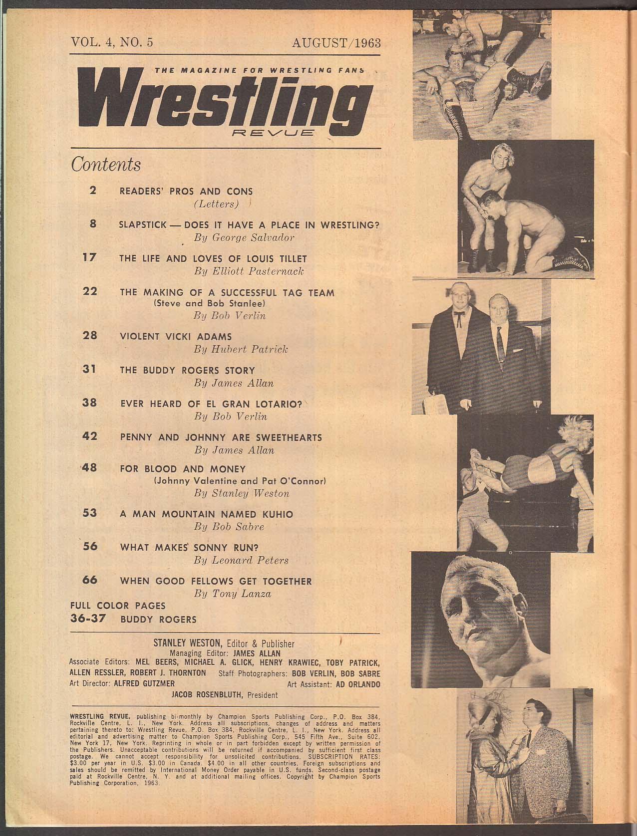 WRESTLING REVUE Buddy Rogers Stanlee Brothers El Gran Lotario + 8 1963