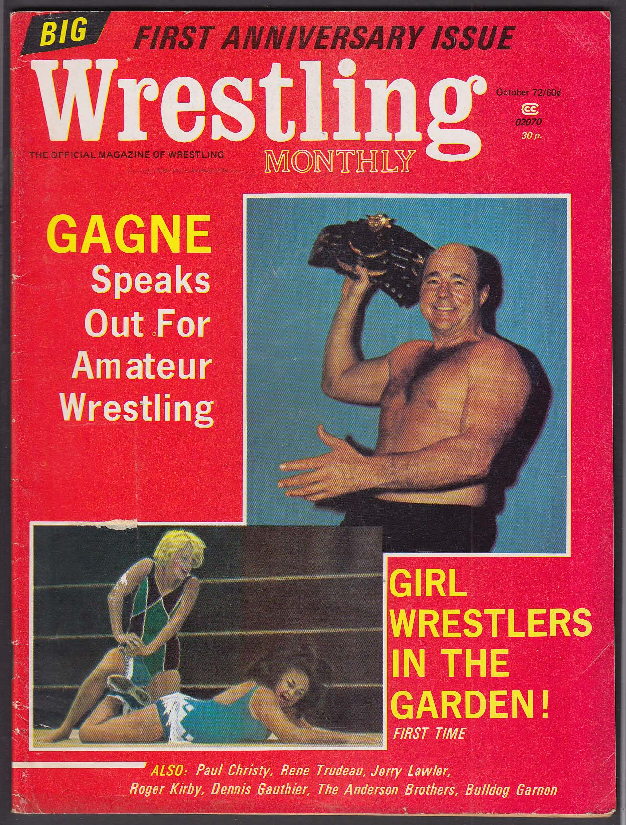 WRESTLING MONTHLY Gagne Paul Christy Rene Trudeau Jerry Lawler ++ 10 1972