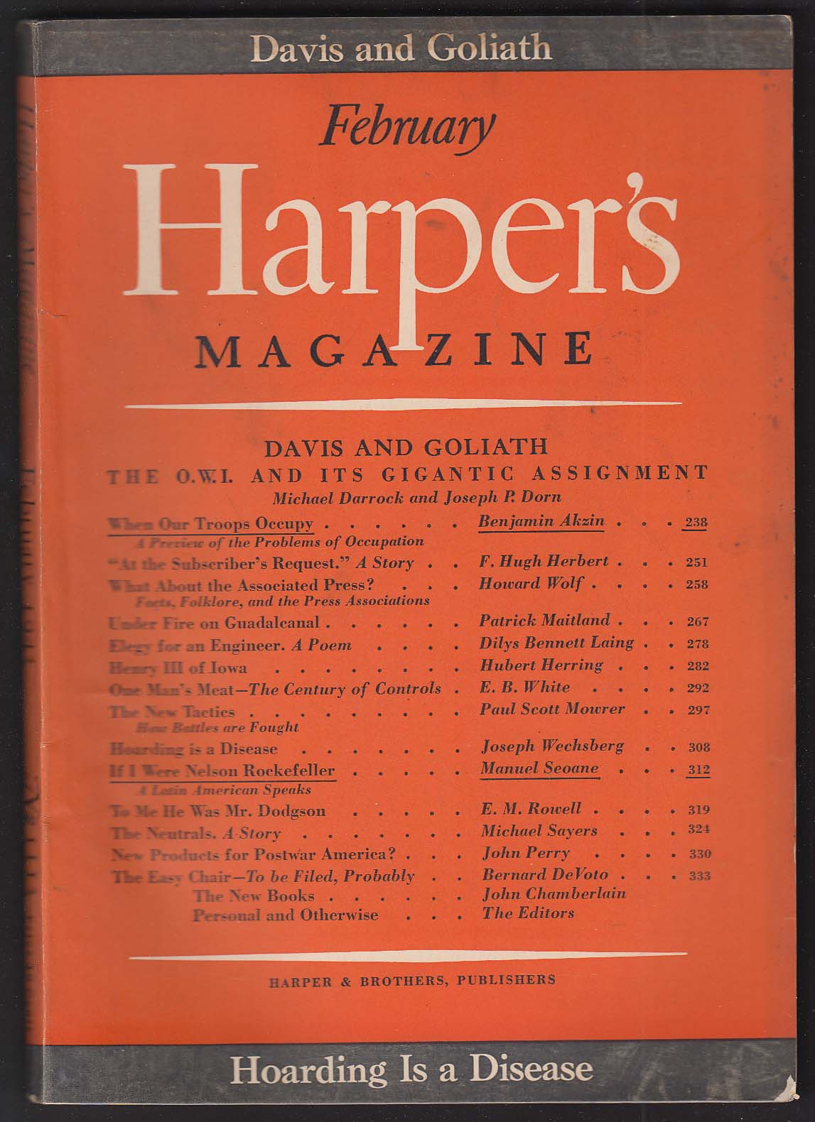 HARPER'S Office of War Information Elmer Davis E B White Rockefeller + 2 1943