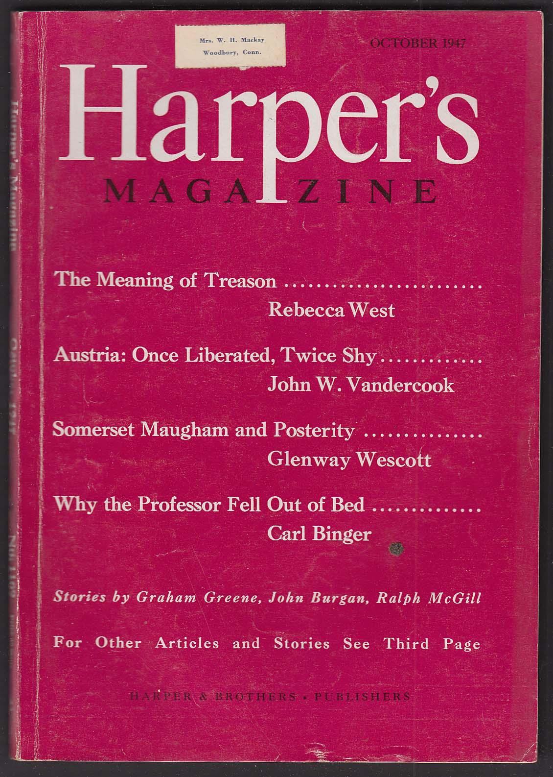 HARPER'S Rebecca West John W Vandercook Somerset Maugham + 10 1947