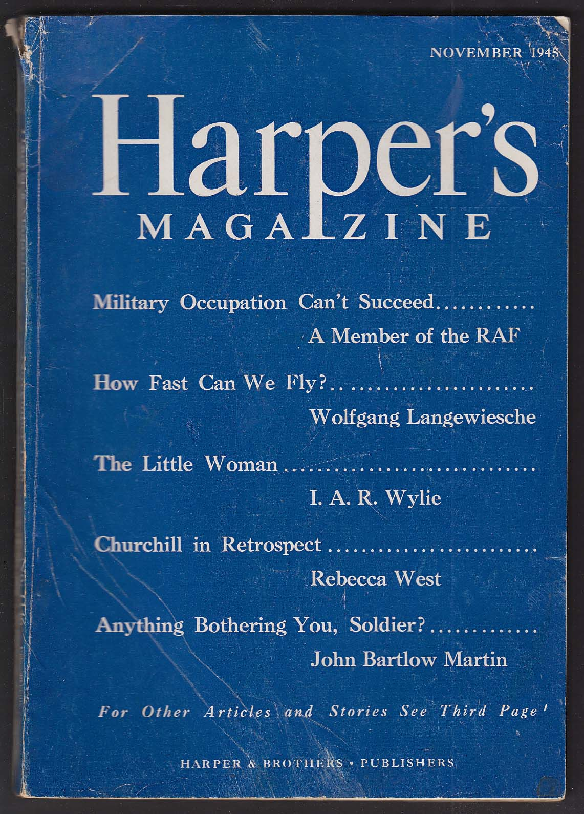 HARPER'S Military Occupation Can't Succeed; Winston Churchill + 11 1945