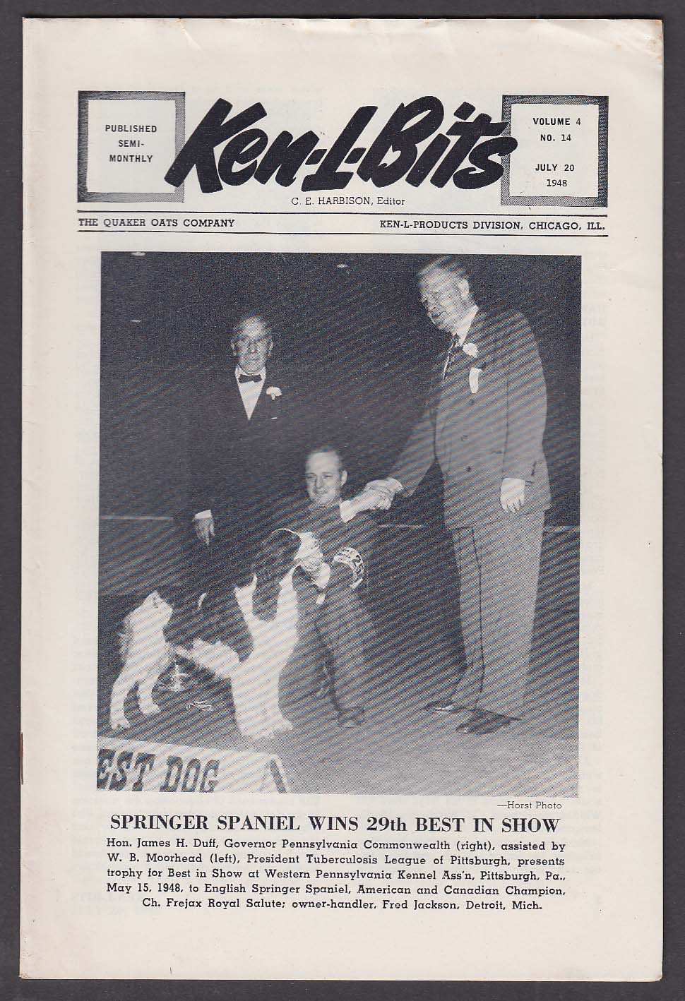 KEN-L-BITS Quaker Oats Dog Show Newsletter 7/20 1948 English Springer Spaniel +