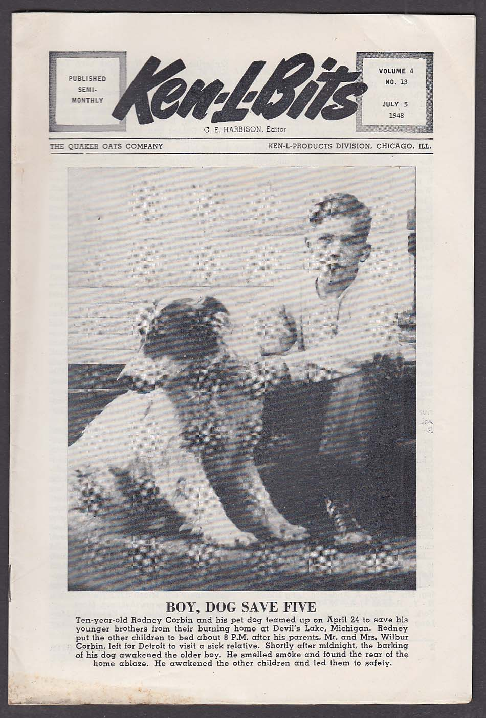 KEN-L-BITS Quaker Oats Dog Show Newsletter 7/5 1948 Rodney Corbin Devil's Lake