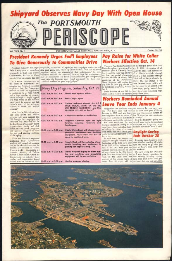 Portsmouth Naval Shipyard PERISCOPE 10/26 1962 JFK; Navy Day Program
