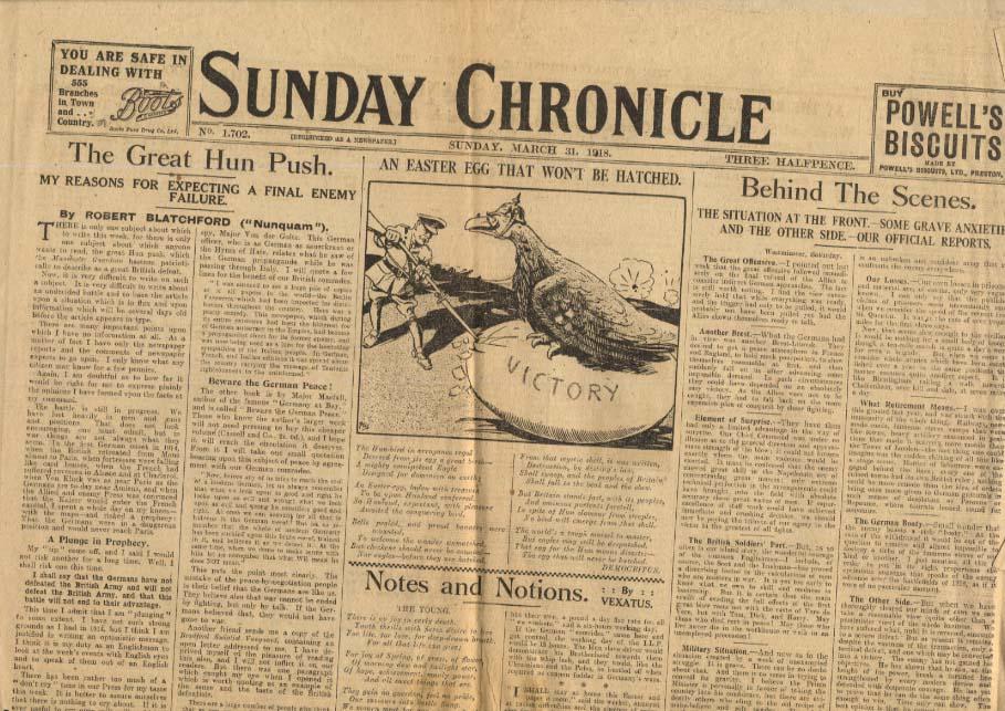 SUNDAY CHRONICLE London 3/31 1918 Great Hun Push; war news Amiens +