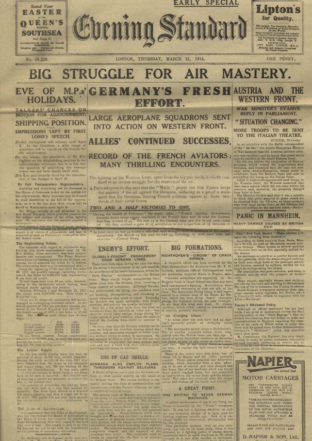 London EVENING STANDARD 3/21 1918 Struggle for air mastery WWI news ++
