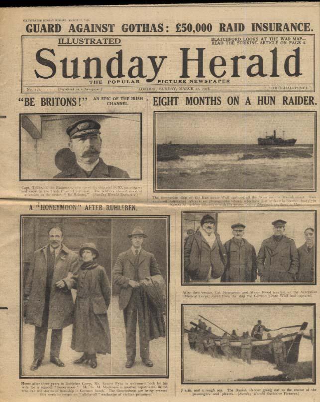 London SUNDAY HERALD 3/17 1918 Australians 8 mos on Hun Raider; war news