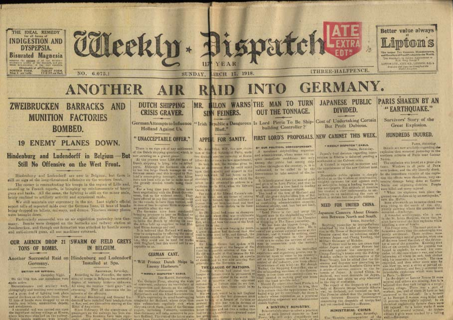 London WEEKLY DISPATCH 3/17 1918 Zweibrucken bombed; Dutch shipping crisis