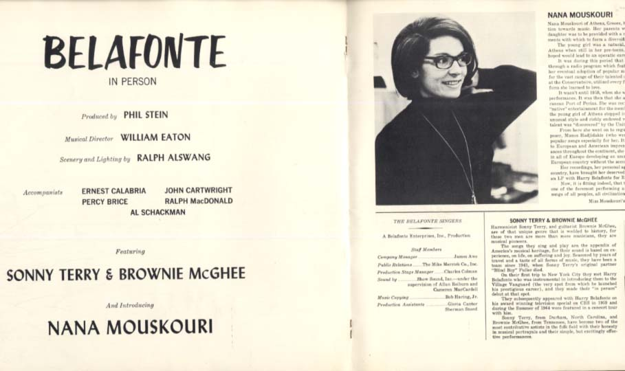 Harry Belafonte performance program 1960s introducing Nana Mouskouri