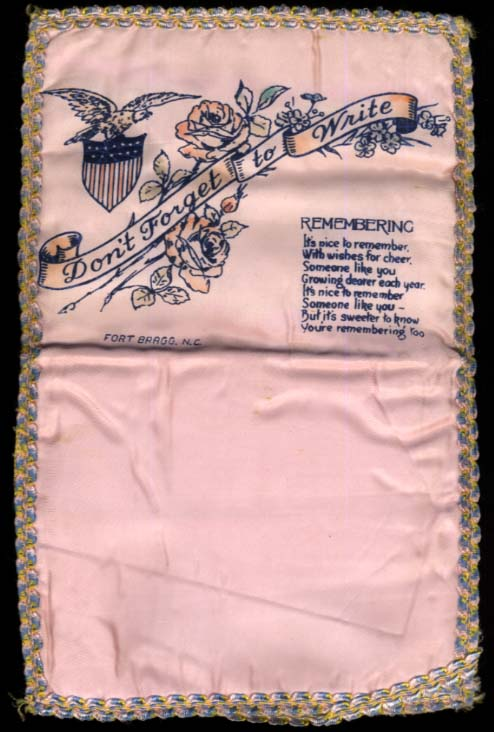 Don't Forget to Write Fort Bragg NC satin letter pocket 1950s