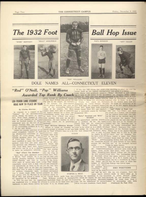 The University of CONNECTICUT CAMPUS 12/9 1932 football issue for 1933