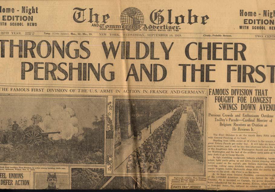 New York GLOBE 9/10 1919 Pershing & 1st Division Victory Parade