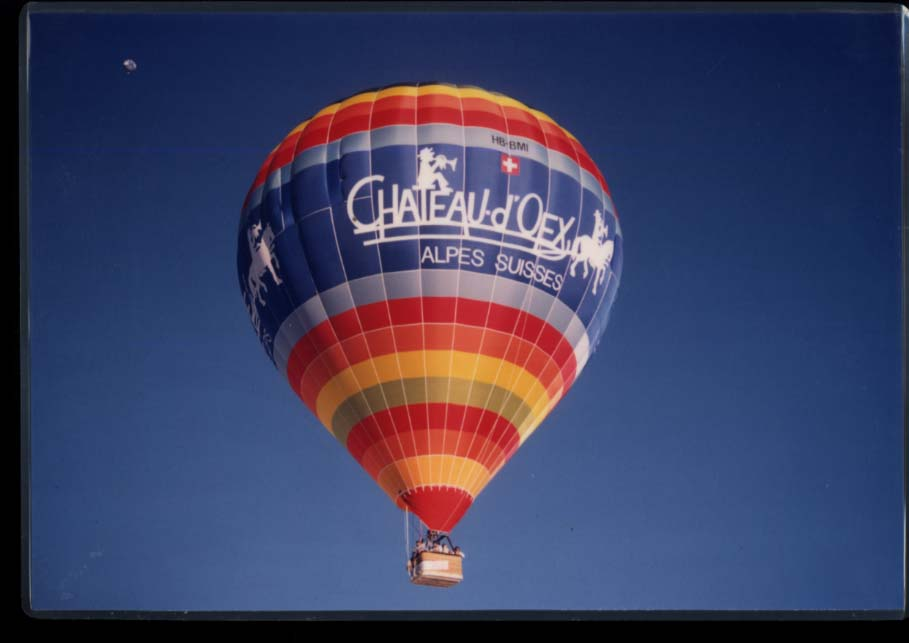 "Chateau-d'Oex Alpes Suisses advertising Hot Air balloon 11x16"" photo"