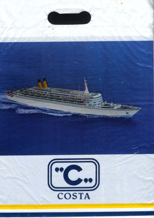 Costa Lines S S Eugenio C ocean liner plastic shopping bag 1970s