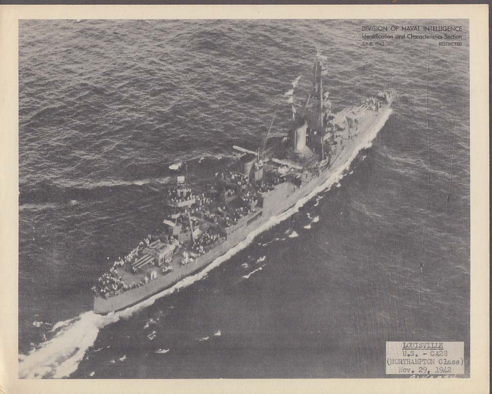 Division of Naval Intelligence ID Sheet Cruiser USS Louisville CA-28 June 1943