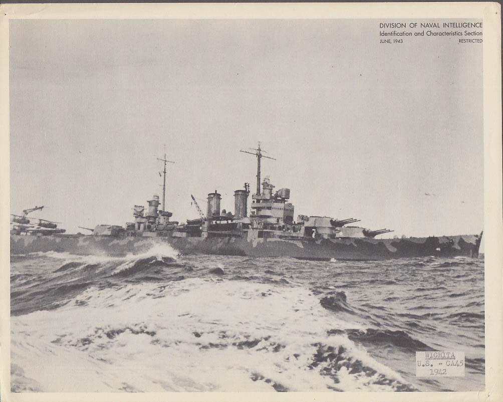 Division of Naval Intelligence ID Sheet Cruiser USS Wic hita CA-45 June 1943