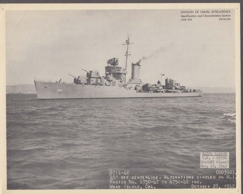 Division of Naval Intelligence ID Sheet Destroyer USS Bagley DD-390 June 1943