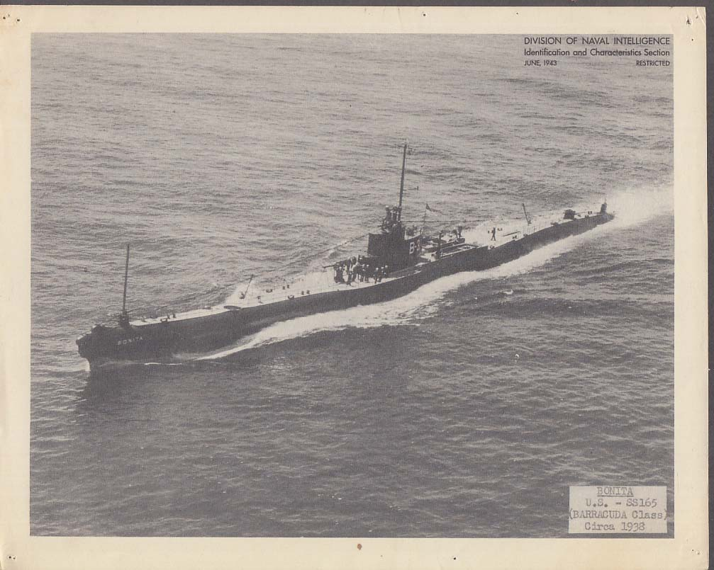 Division of Naval Intelligence ID Sheet Submarine USS Barracuda SS-165 ca 1938