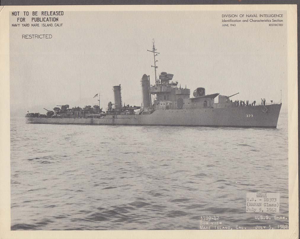 Division of Naval Intelligence ID Sheet Destroyer USS Shaw DD-373 7/5 1942