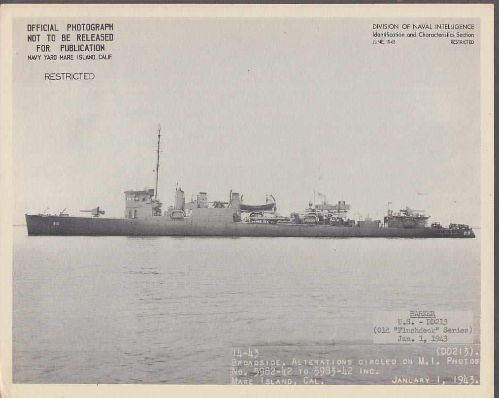 Division of Naval Intelligence ID Sheet Destrroyer USS Barker DD-213 1/1 1943