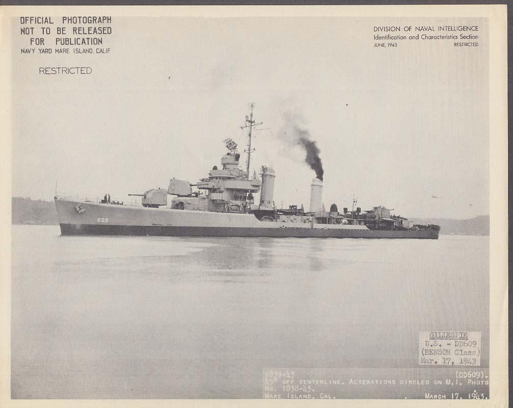 Division of Naval Intelligence ID Sheet Destroyer USS Gillespie DD-609 3/17 1943