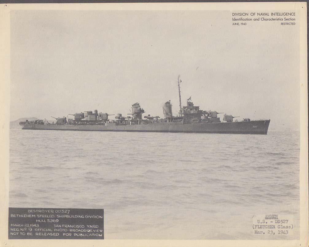 Division of Naval Intelligence ID Sheet Destroyer USS Ammen DD-527 3/23 1943