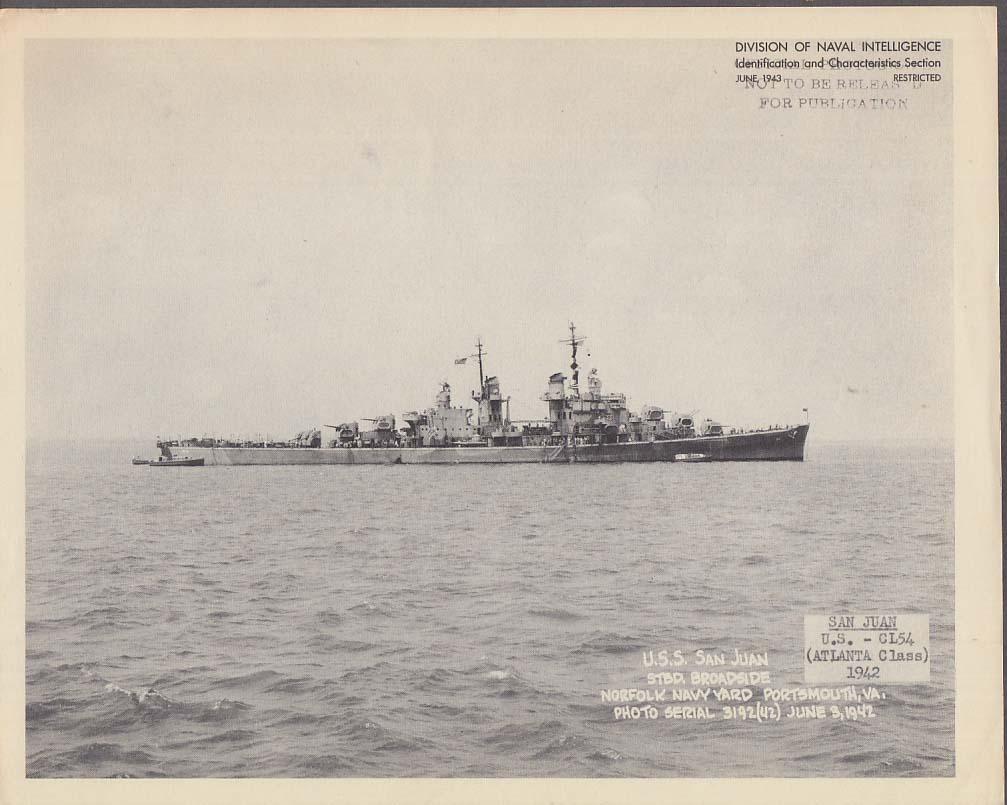 Division of Naval Intelligence ID Sheet Light Cruiser USS San Juan CL-54 1942