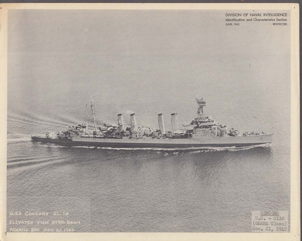 Division of Naval Intelligence ID Sheet Light Cruiser USS Concord 11/21 1942
