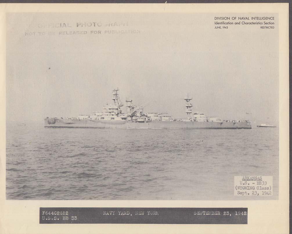 Division of Naval Intelligence ID Sheet Battleship USS Arkansas BB-33 9/23 1942