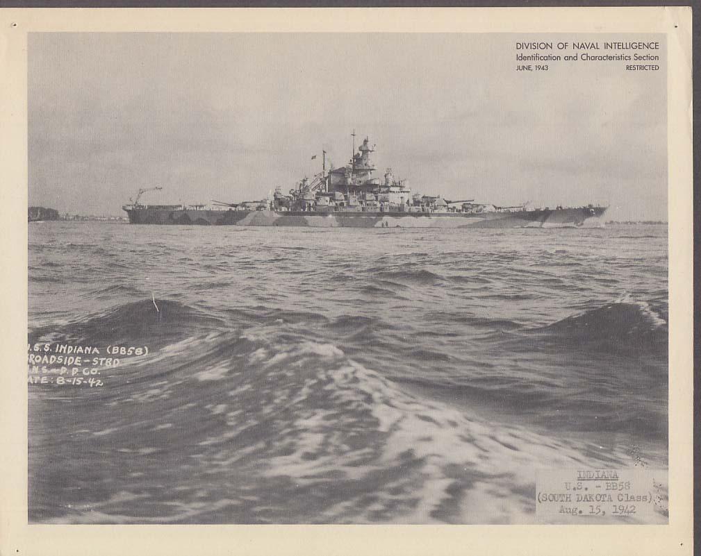 Division of Naval Intelligence ID Sheet Battleship USS Indiana BB-58 8/15 1942