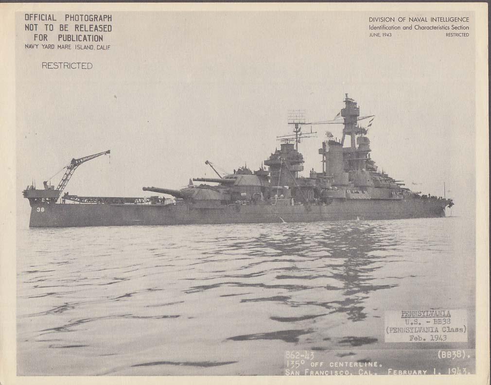 Division of Naval Intelligence ID Sheet Battleship USS Pennsylvania BB-38 1943 A