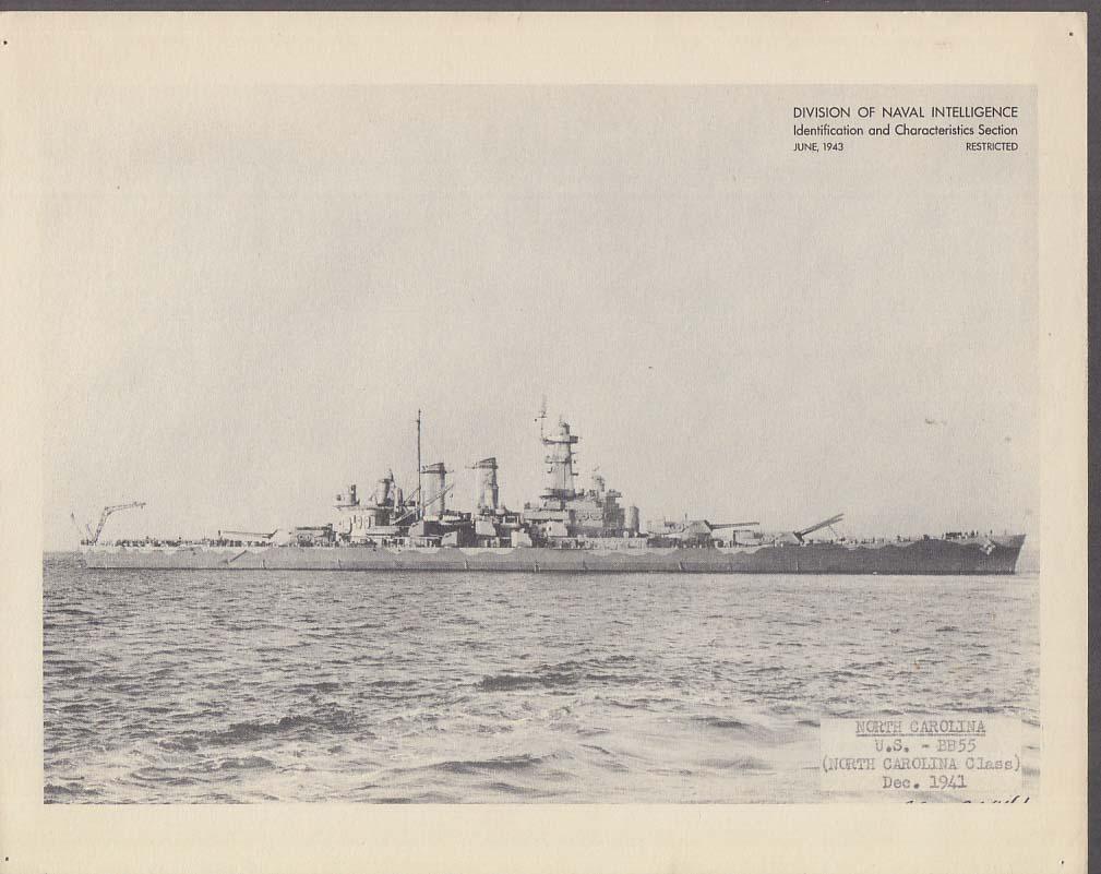 Division of Naval Intelligence ID Sheet Battleship USS North Acrolina BB-55 1941