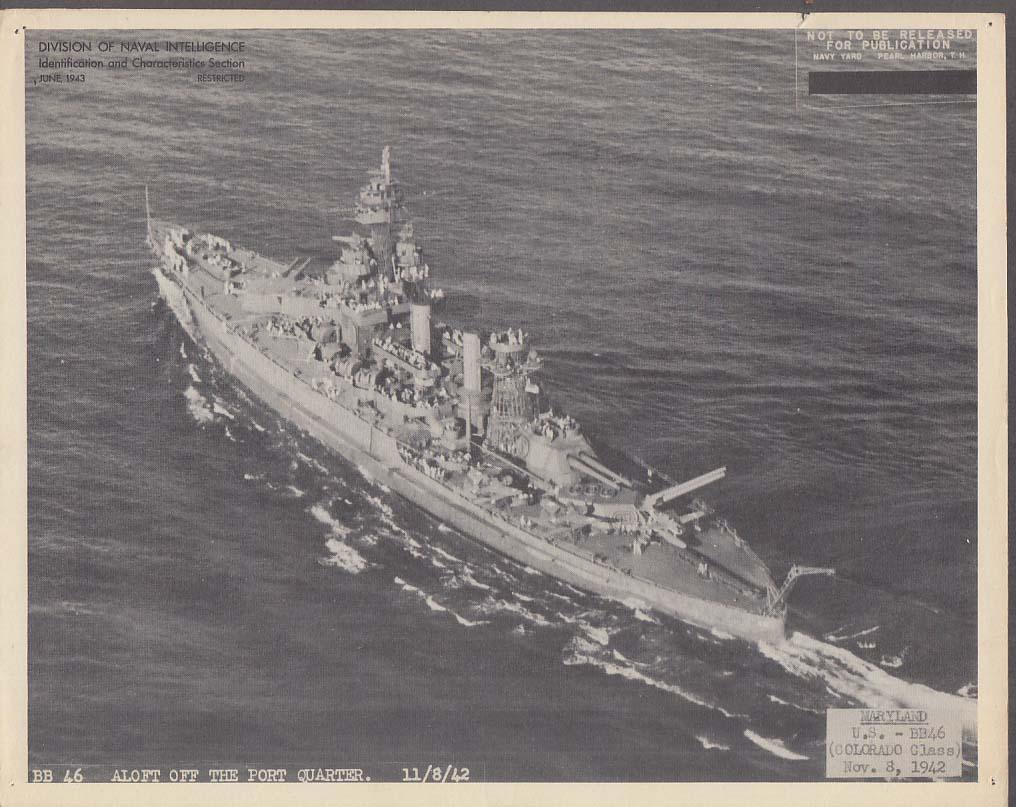 Division of Naval Intelligence ID Sheet Battleship USS Maryland 11/8 1942