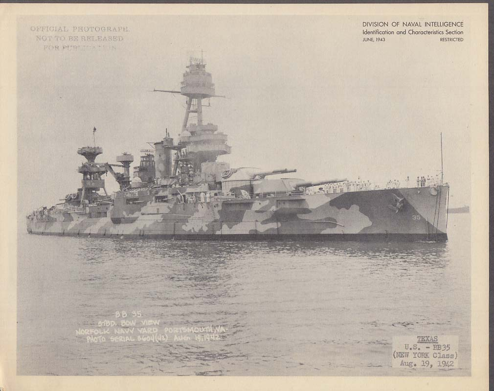 Division of Naval Intelligence ID Sheet Battleship USS Texas BB-35 8/19 1942