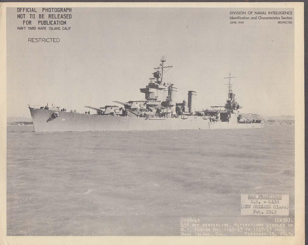 Division of Naval Intelligence ID Sheet Cruiser USS San Francisco CA-38 2 1943