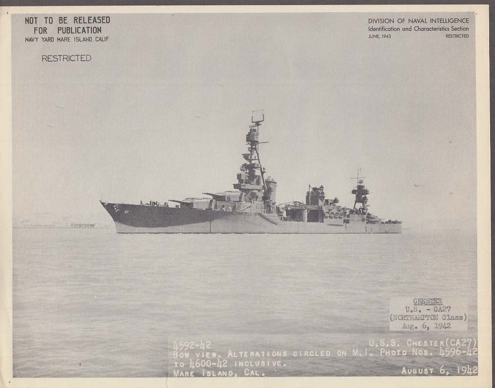 Division of Naval Intelligence ID Sheet Cruiser USS Chester CA-27 8/6 1942