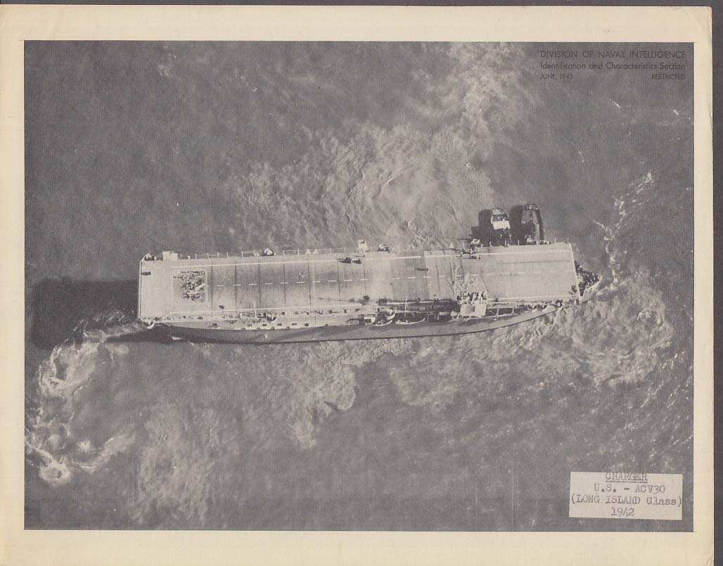 Division of Naval Intelligence ID Sheet Escort Carrier Charger ACV-30 1942