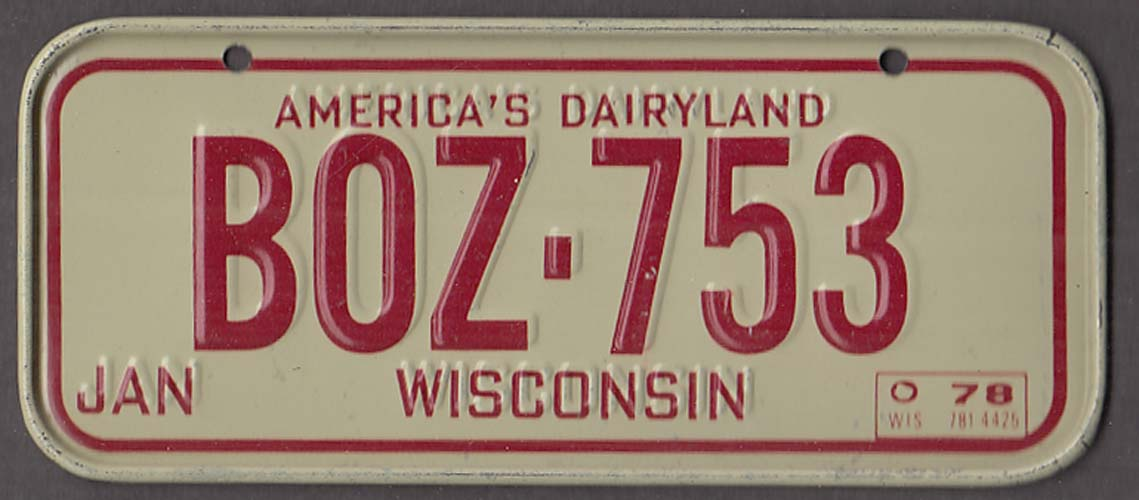 Post Honeycomb Wisconsin License Plate 1978 America's Dairyland
