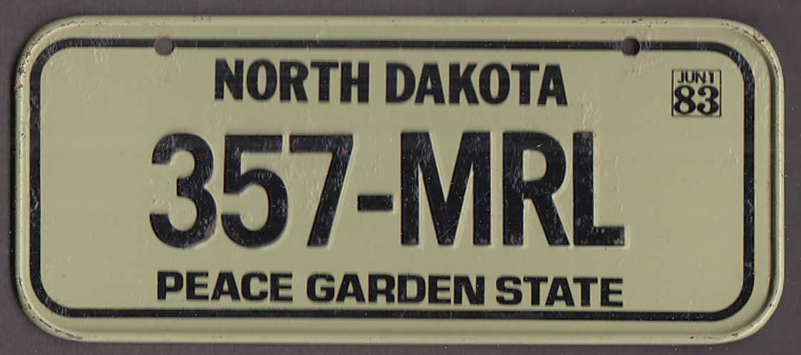 Post Honeycomb Wisconsin License Plate 1983 North Dakota Peace Garden State