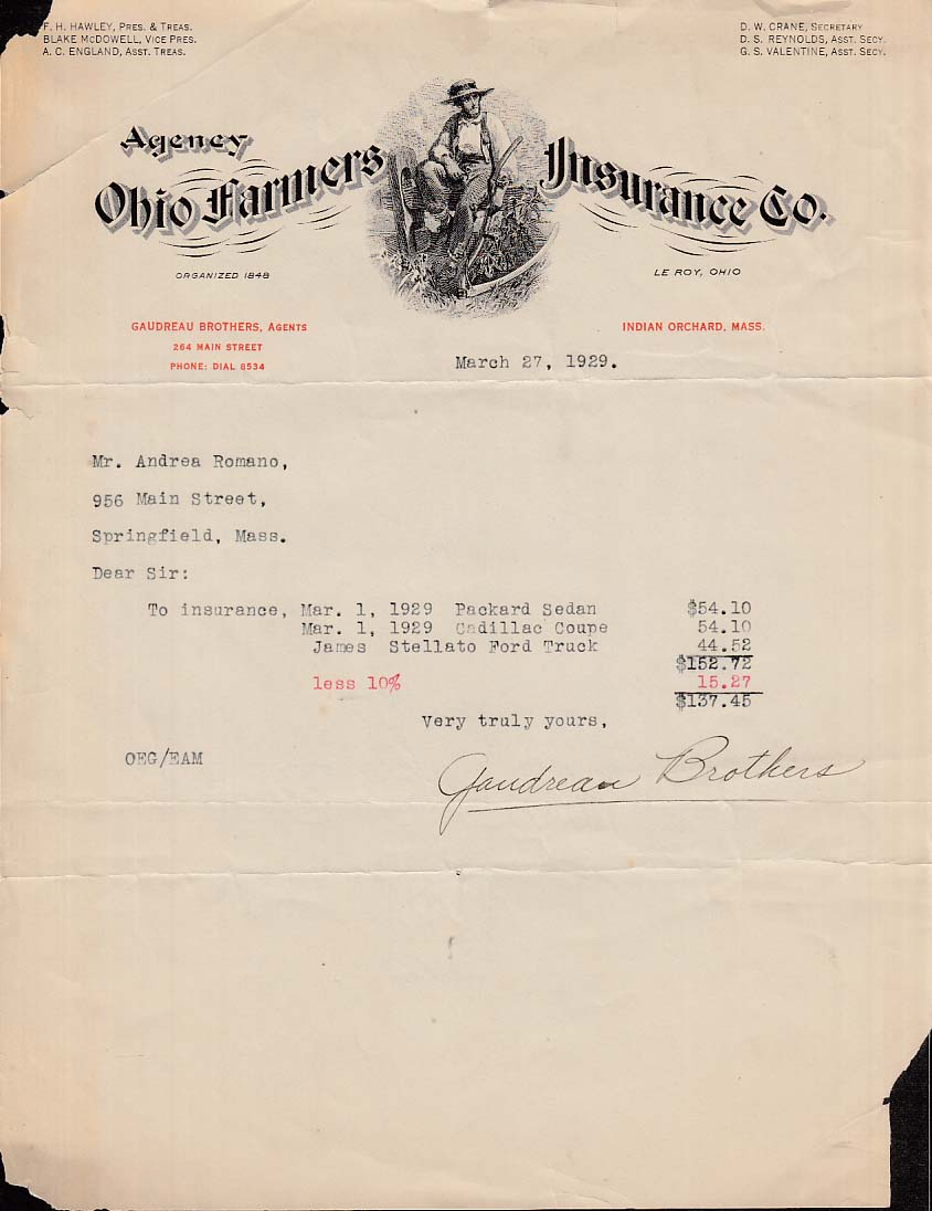 Farmers Insurance Quote Old Farmers Insurance Indian Orchard Ma Quote 1929 Packard 1929