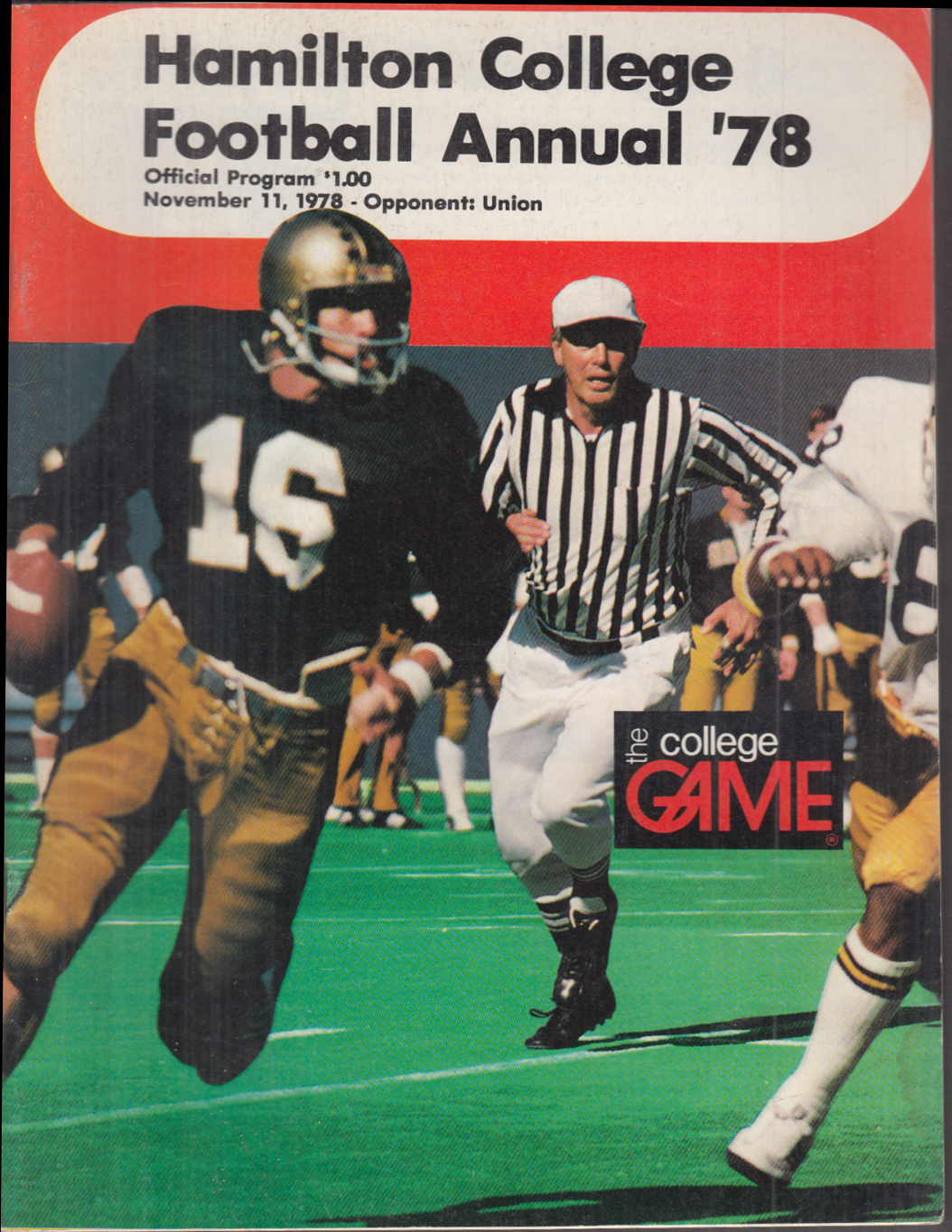 Hamilton College vs Union College football program 11/11 1978