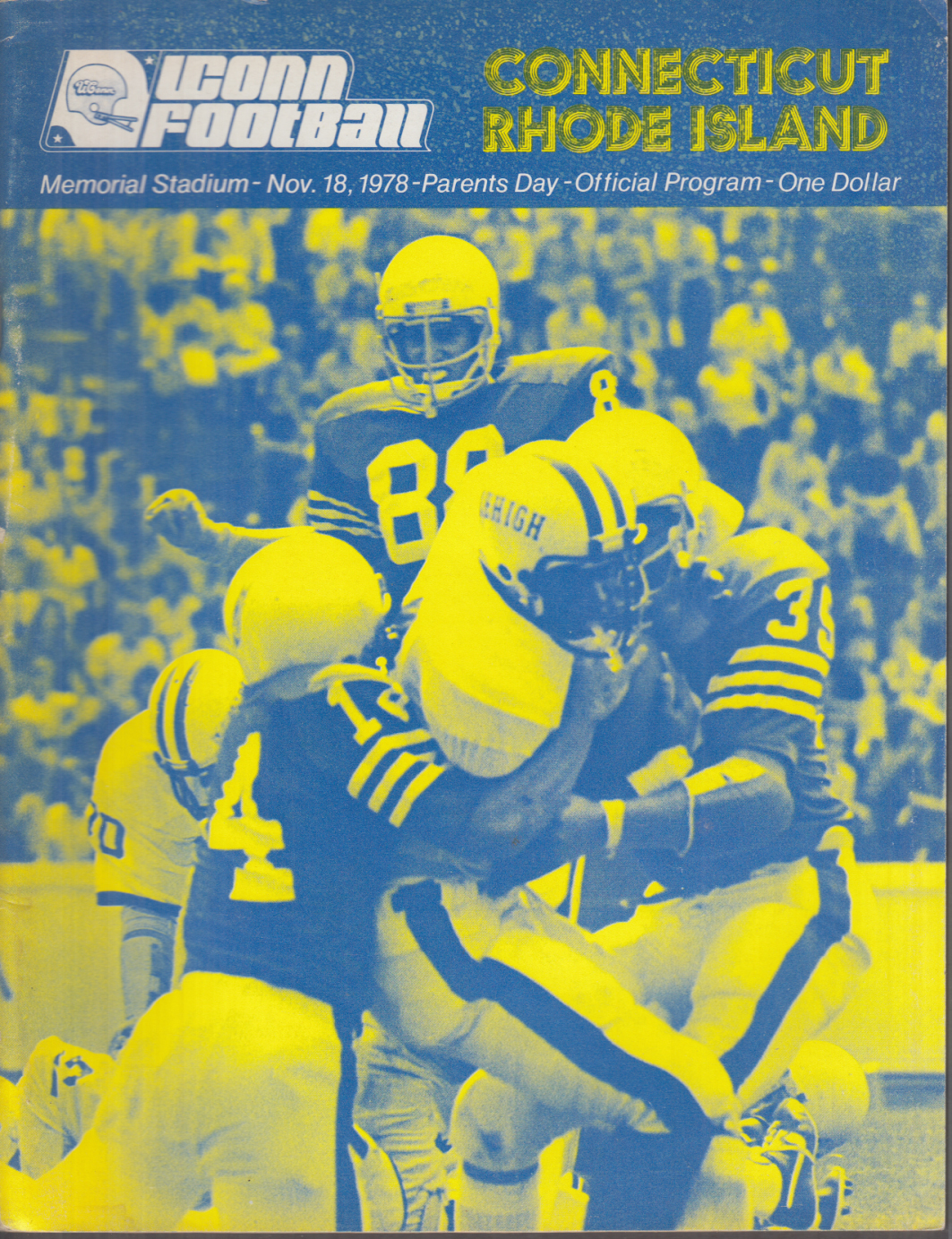 UCONN vs RHODE ISLAND College Football Program 11/18 1978