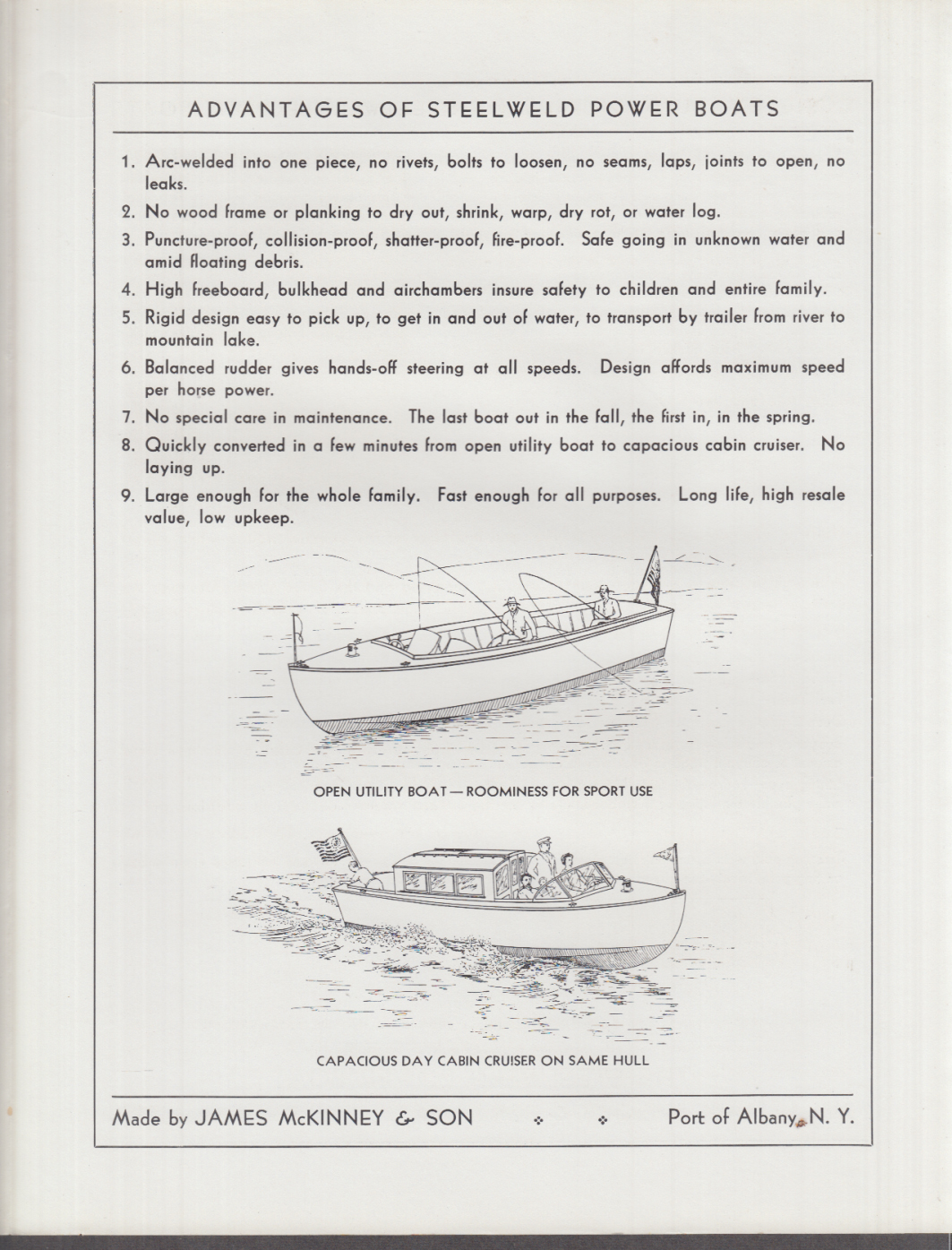 1933 Launches The Steelweld Power Boat sales folder James McKinney & Son