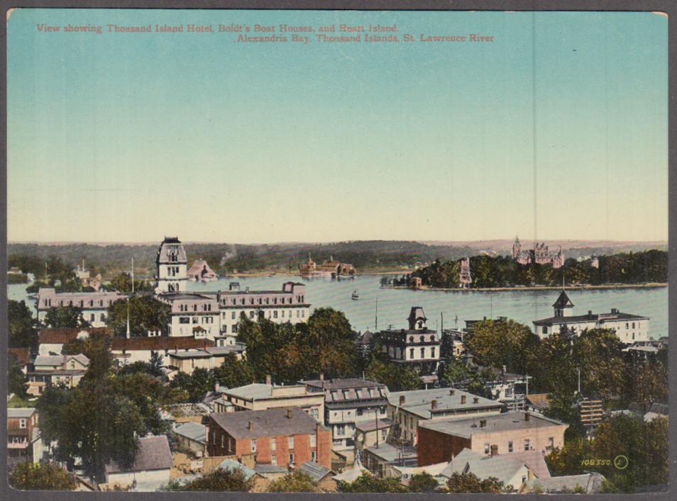 Thousand Island Hotel Boldt's Boat House Alexandria Bay NY jumbo postcard 1910s
