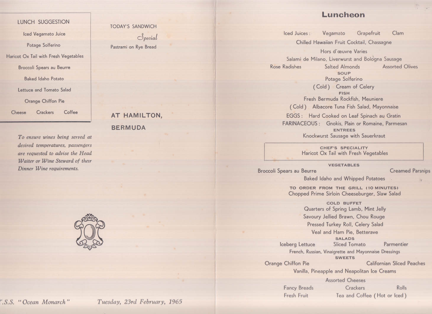 Furness Bermuda Line TSS Ocean Monarch Luncheon Menu 2/23 1965