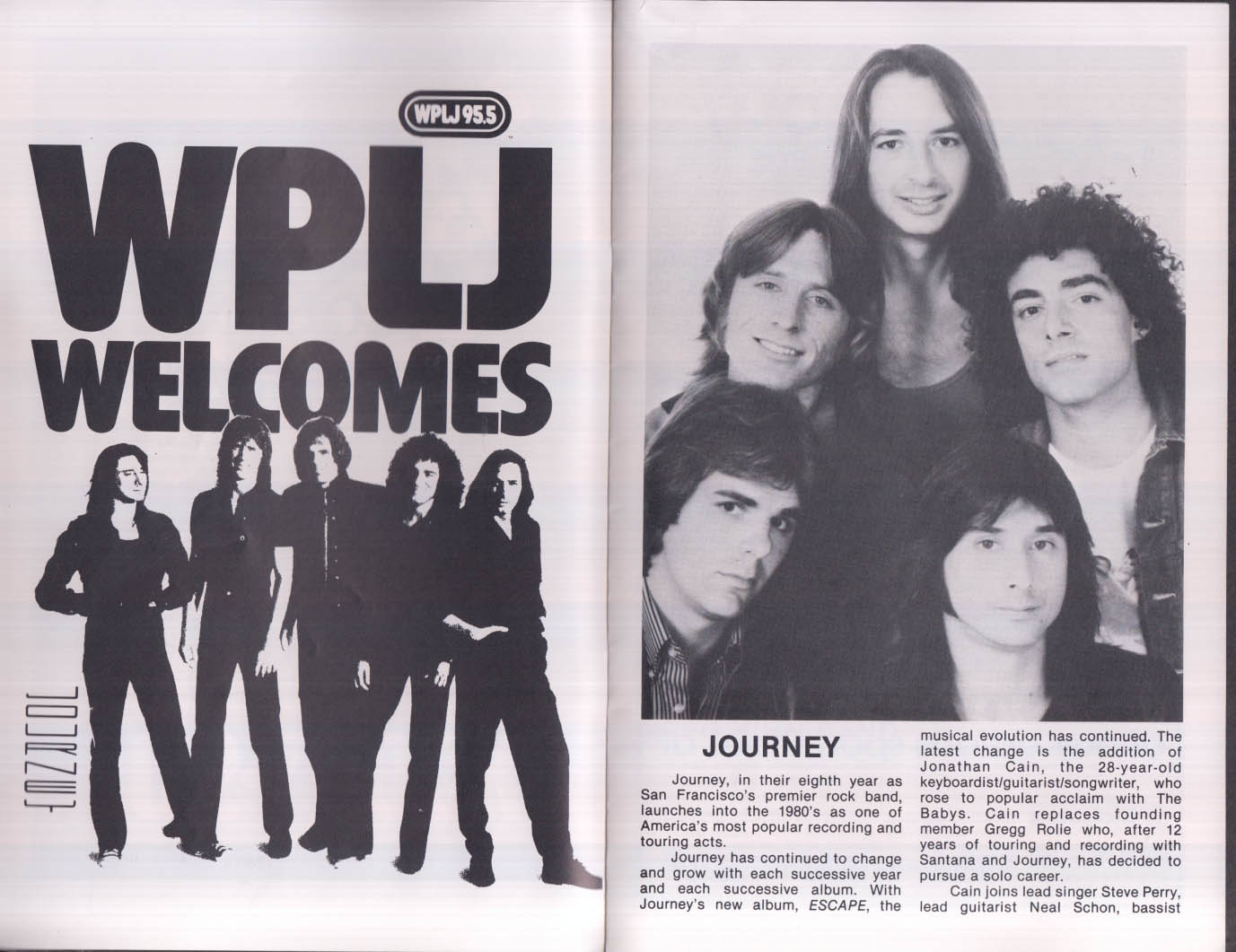 Journey & Johnny & the Distractions Meadowlands program 1982