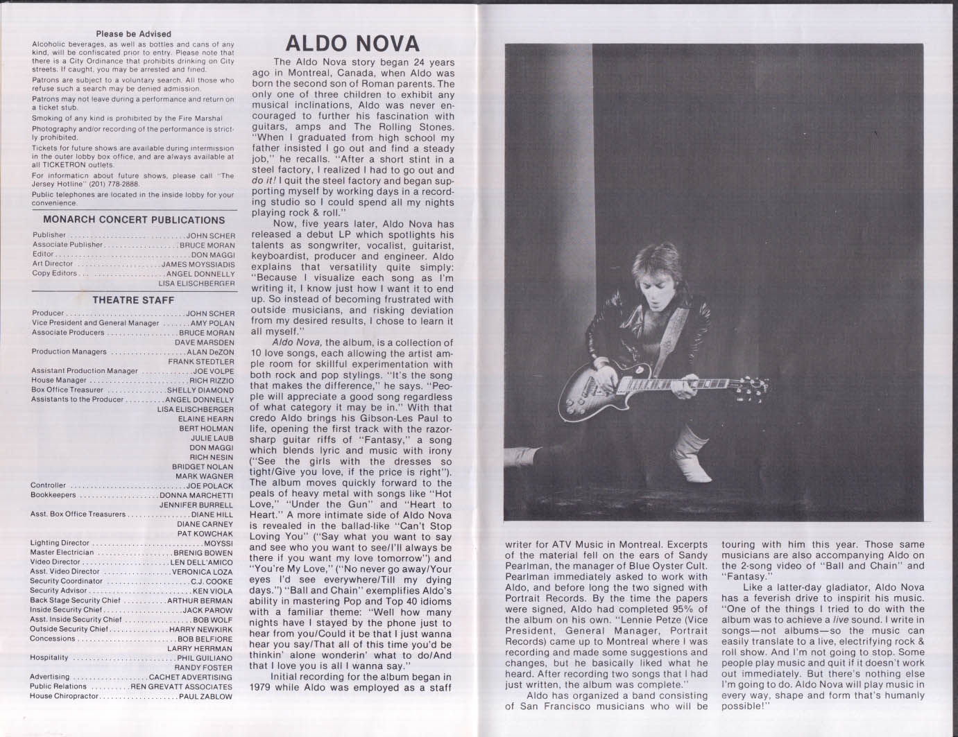 Blue Oyster Cult & Aldo Nova Asbury Park On the Boardwalk program 1982